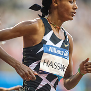 BRUSSELS, BELGIUM:  September 3:   Sifan Hassan of the Netherlands in action while winning the 1 mile for women race during the Wanda Diamond League 2021 Memorial Van Damme Athletics competition at King Baudouin Stadium on September 3, 2021 in  Brussels, Belgium. (Photo by Tim Clayton/Corbis via Getty Images)