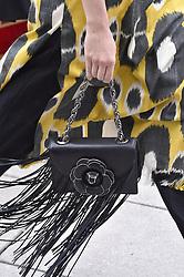 September 11, 2018 - New York, USA - Oscar de la Renta.Model On Closeup Catwalk, Close Up, Details, Accessories, Woman Women, New York Fashion Week 2019 Ready To Wear For Spring Summer, Defile, Fashion Show Runway Collection, Pret A Porter, Modelwear, Modeschau Laufsteg Fruehjahr Sommer USA (Credit Image: © FashionPPS via ZUMA Wire)