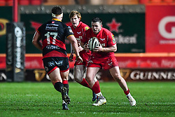 Scarlets' Rob Evans in action during todays match<br /> <br /> Photographer Craig Thomas/Replay Images<br /> <br /> Guinness PRO14 Round 13 - Scarlets v Dragons - Friday 5th January 2018 - Parc Y Scarlets - Llanelli<br /> <br /> World Copyright © Replay Images . All rights reserved. info@replayimages.co.uk - http://replayimages.co.uk