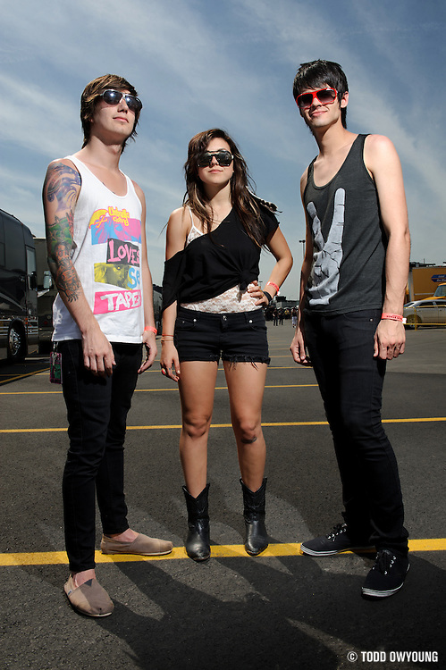 Portraits of VersaEmerge members Sierra Kusterbeck, Blake Harnage and Devin Ingelido, photographed backstage at The Bamboozle Festival in East Rutherford, New Jersey on May 1, 2010.