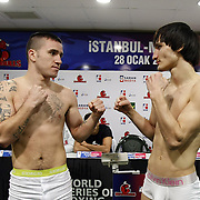 Istanbulls David Oliver JOYCE (L) and Kremlin Bears Adlan ABDURASHIDOV (R) boxers seen during their Presentation and the weighing ceremony matchday 5 of the World Series of Boxing at Ahmet Comert Arena in Istanbul, Turkey, Thursday, January 27, 2011. Photo by TURKPIX