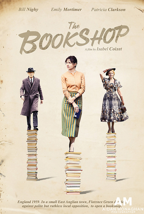 """Based on Penelope Fitzgerald's novel of the same name; 'The Bookshop' is set in 1959, Florence Green (Emily Mortimer), a free spirited widow, puts grief behind her and risks everything to open up a bookshop – the first such shop in the sleepy seaside town of Hardborough, England. Fighting damp, cold and considerable local apathy she struggles to establish herself but soon her fortunes change for the better. By exposing the narrow minded local townsfolk to the best literature of the day including Nabokov's scandalising """"Lolita"""" and Ray Bradbury's """"Fahrenheit 451"""", she opens their eyes thereby causing a cultural awakening in a town which has not changed for centuries.<br /> Her activities bring her a kindred spirit and ally in the figure of Mr Brundish (Bill Nighy)who is himself sick of the town's stale atmosphere. But this mini social revolution soon brings her fierce enemies: she invites the hostility of the town's less prosperous shopkeepers and also crosses Mrs. Gamart (Patricia Clarkson), Hardborough's vengeful, embittered alpha female who is herself a wannabe doyenne of the local arts scene. When Florence refuses to bend to Gamart's will, they begin a struggle not just for the bookshop but for the very heart and soul of the town.<br /> <br /> Written and directed by: Isabel Coixet (Learning to Drive, Elegy, My Life Without Me)<br /> Based on Booker Prize winning novelist Penelope Fitzgerald's novel 'The Bookshop',<br /> itself Booker-nominated."""