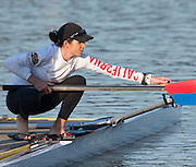 Amsterdam. NETHERLANDS. Lightweight Women's Single Sculls USA LW1X<br /> Kate BERTKO and coach, 2014 FISA  World Rowing. Championships.  De Bosbaan Rowing Course . 07:58:04  Thursday  21/08/2014  [Mandatory Credit; Peter Spurrier/Intersport-images]