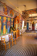 Interior with frescos of the  Agios Symios, kea, Greek Cyclades Island .<br /> <br /> Visit our GREEK HISTORIC PLACES PHOTO COLLECTIONS for more photos to download or buy as wall art prints https://funkystock.photoshelter.com/gallery-collection/Pictures-Images-of-Greece-Photos-of-Greek-Historic-Landmark-Sites/C0000w6e8OkknEb8