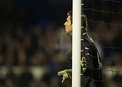 LIVERPOOL, ENGLAND - Tuesday, February 16, 2010: Sporting Clube de Portugal's goalkeeper Rui Patricio in action against Everton during the UEFA Europa League Round of 32 1st Leg match at Goodison Park. (Photo by: David Rawcliffe/Propaganda)