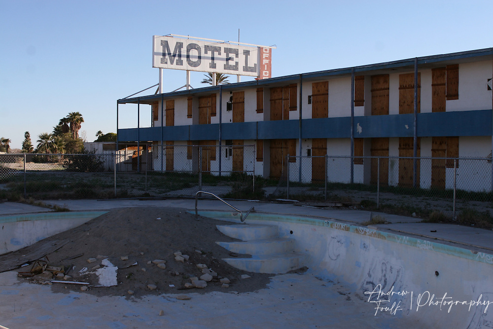 The pool at this motel in the North Shore is being slowly taken back by the desert from the years of being abandoned.