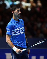 Tennis - 2019 Nitto ATP Finals at The O2 - Day Five<br /> <br /> Singles Group Bjorn Borg: Novak Djokovic (Serbia) vs. Roger Federer (Switzland)<br /> <br /> Novak Djokovic dejected during his 2 set defeat to Roger Federer 6-4, 6-3<br /> <br /> COLORSPORT/ASHLEY WESTERN