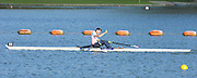 Reading. United Kingdom. GBR LM1X Jamie KIRKWOOD, celebrates winning the Lightweight men's single sculls final at the 2014 GBRowing Senior trials,  Redgrave and Pinsent Rowing Lake. Caversham.<br /> <br /> 18:07:47  Saturday  19/04/2014<br /> <br />  [Mandatory Credit: Peter Spurrier/Intersport<br /> Images]
