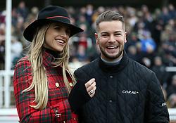 Chris Hughes and Vogue Williams during Ladies Day of the 2019 Cheltenham Festival at Cheltenham Racecourse.