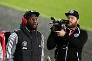 Camera's focussed on Romelu Lukaku of Manchester Utd as he arrives at the stadium. EFL Carabao Cup 4th round match, Swansea city v Manchester Utd at the Liberty Stadium in Swansea, South Wales on Tuesday 24th October 2017.<br /> pic by  Andrew Orchard, Andrew Orchard sports photography.