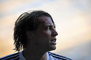 Swansea city's Michu celebrates his first half goal.<br /> UEFA Europa league, play off round, 1st leg match, Swansea city v FC Petrolul Ploiesti at the Liberty stadium in Swansea on Thursday 22nd August 2013. pic by Phil Rees , Andrew Orchard sports photography,