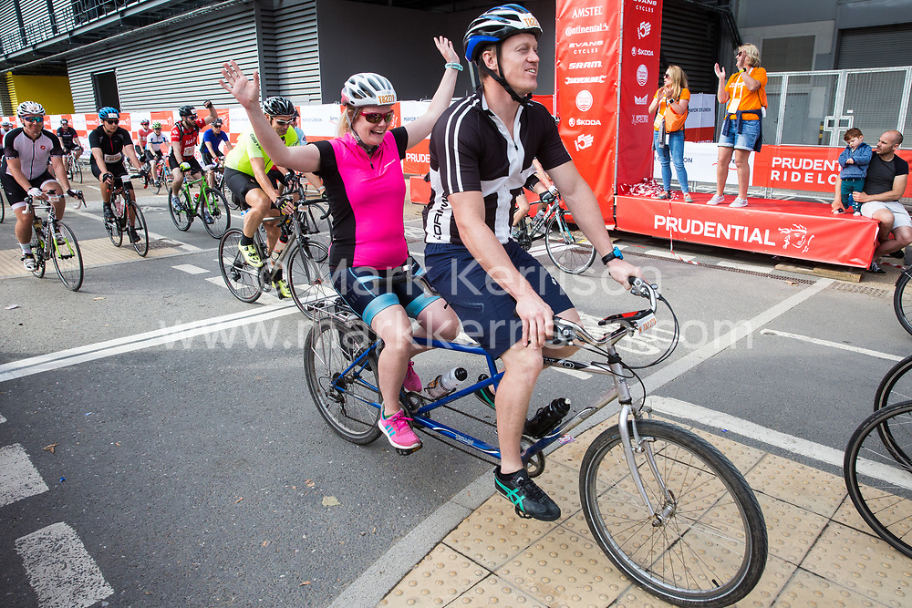 London, UK. 4 August, 2019. Around 4,500 riders start the Prudential RideLondon-Surrey 46 in Queen Elizabeth Olympic Park in East London. An intermediate sportive event intended for younger riders and for those getting into mass-participation cycling, the Prudential RideLondon-Surrey 46 event takes place on 46 miles of traffic-free roads in London and Surrey before finishing on the Mall in front of Buckingham Palace.