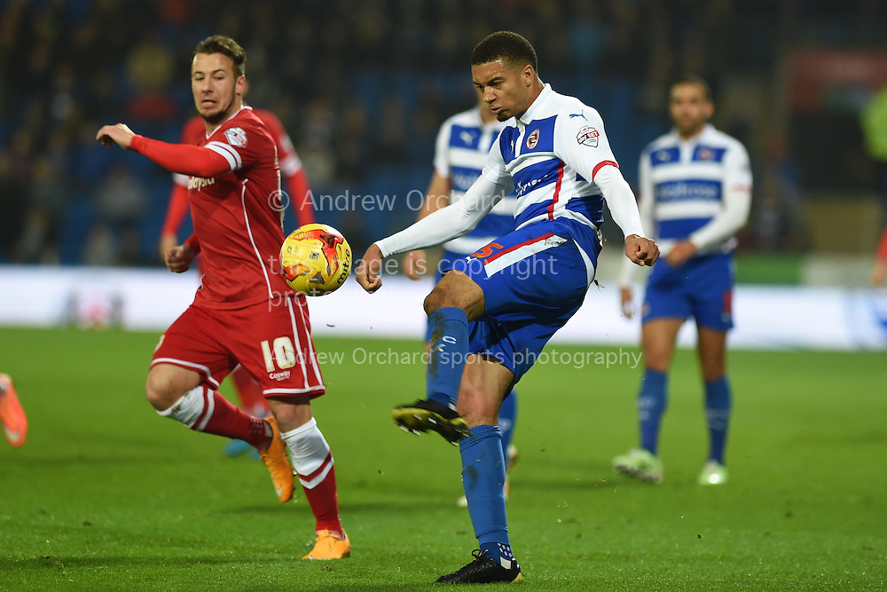 Michael Hector of Reading in action. Skybet football league championship match, Cardiff city v Reading at the Cardiff city stadium in Cardiff, South Wales on Friday 21st November 2014<br /> pic by Andrew Orchard, Andrew Orchard sports photography.