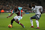 Michail Antonio of West Ham United blocking the ball from Paul Pogba of Manchester United. Premier league match, West Ham Utd v Manchester Utd at the London Stadium, Queen Elizabeth Olympic Park in London on Monday 2nd January 2017.<br /> pic by John Patrick Fletcher, Andrew Orchard sports photography.