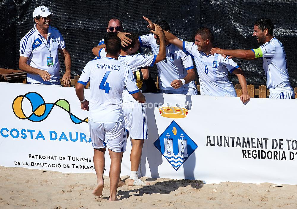 TORREDEMBARRA, SPAIN - AUGUST 08 :  Euro Beach Soccer League Superfinal 2013 at Torredembarra Beach on August 08, 2013 in Torredembarra, Spain. (Photo by Manuel Queimadelos)