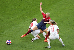 England's Fran Kirby (left) and Toni Duggan (right) battle for the ball with Norway's Karina Saevik during the FIFA Women's World Cup, Quarter Final, at Stade Oceane, Le Havre, France.