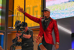 April 26, 2018 - Arlington, TX, U.S. - ARLINGTON, TX - APRIL 26:  Derwin James walks on stage after being chosen by the Los Angeles Chargers with the 17th pick during the first round at the 2018 NFL Draft at AT&T Statium on April 26, 2018 at AT&T Stadium in Arlington Texas.  (Photo by Rich Graessle/Icon Sportswire) (Credit Image: © Rich Graessle/Icon SMI via ZUMA Press)