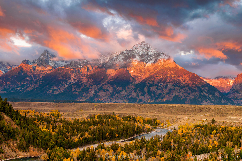 Dawn Red Clouds at Snake River Overlook, Grand Teton National Park, Wyoming