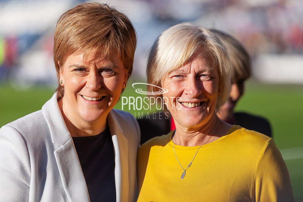 First Minister Nicola Sturgeon pictured with Jean Stewart after receiving her Scotland Cap ahead of the International Friendly match between Scotland Women and Jamaica Women at Hampden Park, Glasgow, United Kingdom on 28 May 2019.