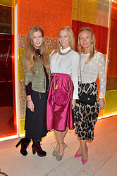 Left to right, KATIE READMAN, ALICE NAYLOR-LEYLAND and MARTHA WARD at a party to celebrate the first anniversary of SushiSamba at the Heron Tower, 110 Bishopsgate, London EC4 on 12th November 2013.