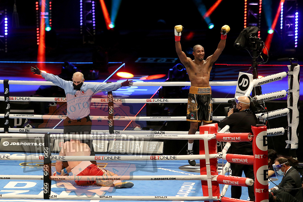Carlos Gongora celebrates after knocking out Ali Akhmedov during the undercard bout of the Gennady Golovkin versus Kamil Szeremeta world title fight at the Seminole Hard Rock Hotel and Casino in Hollywood, Florida USA on 18, Dec 2020. Photo: Alex Menendez