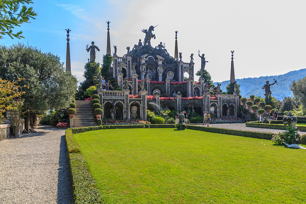 """The """"Theatre"""" at Isola Bella at Lago Di Maggiore, Italy. The Borromeos constructed the """"Theatre"""" at the end of the superimposed terraces with a statue of a Unicorn, the heraldic emblem of the Borromeos."""