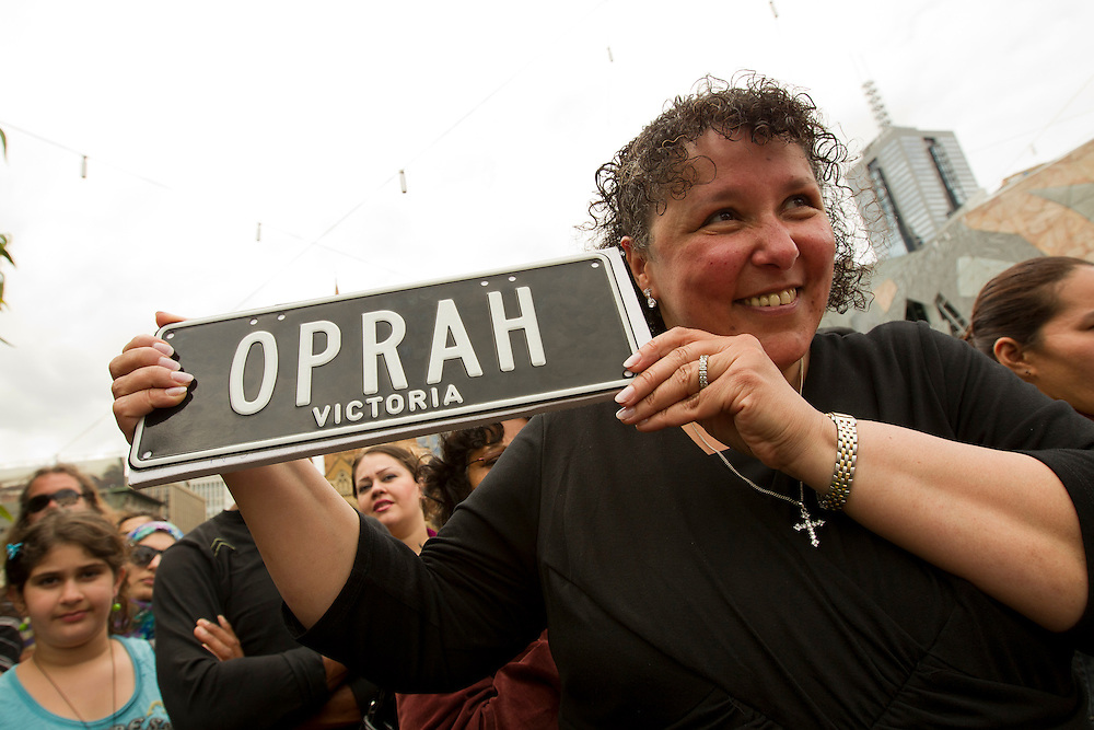 Nivine Takla shows off her genuine, legal Oprah numberplate whilst waiting to see Oprah at a public event at Federation Square on December 10, 2010 in Melbourne, Australia. Oprah Winfrey is in Australia with 302 audience members from the US, Canada and Jamaica and will tape episodes of the 25th and final season of 'The Oprah Winfrey Show' from the Sydney Opera house next week. The shows will air in the US and Australia in January 2011.