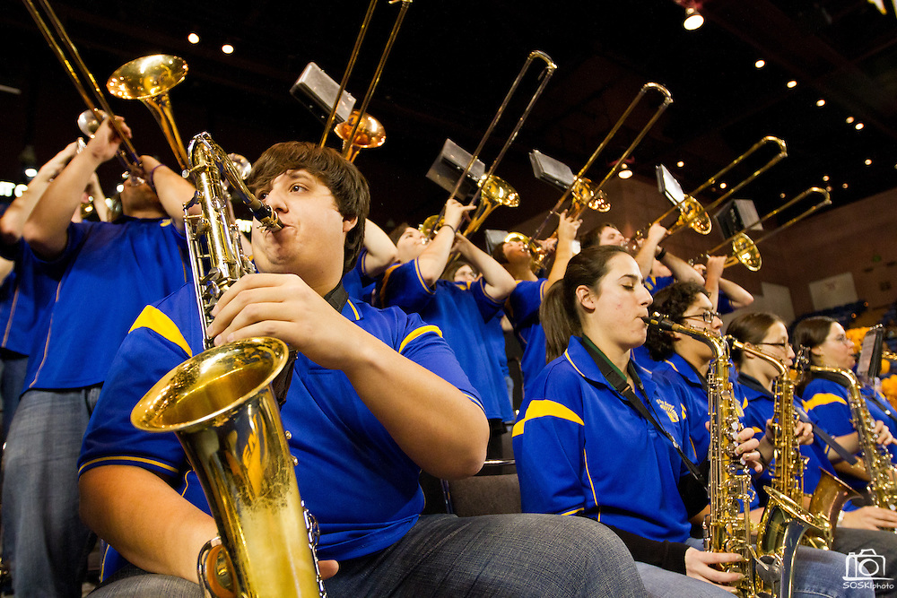 The San Jose State band performs during a time out Thurs. Jan. 27. The Spartans fell to #25 Utah State, 84-65.