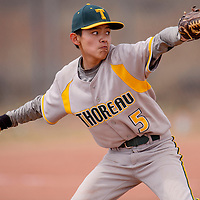 Thoreau Hawks Eliano Rivas (5) pitches to the Hot Springs Tigers Friday at Thoreau High School.
