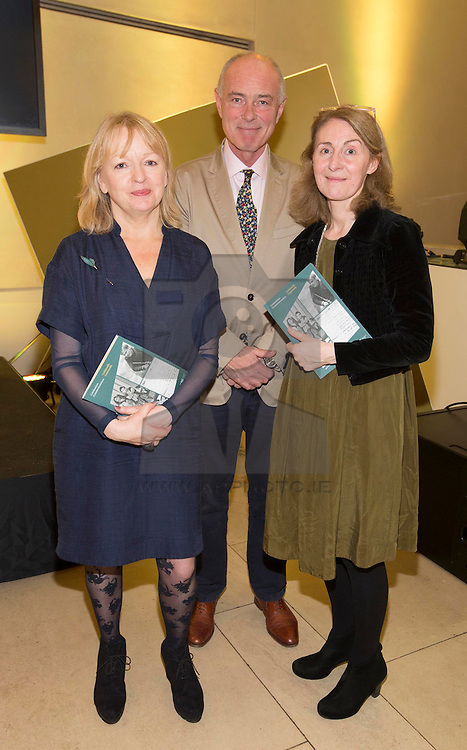 Kay Sheey, Donal Byrne and Cliodhna níAnluain pictured at the launch of RTÉ 1916, an ambitious programme of content and events across television, radio, mobile and online, in the National Gallery of Ireland. Picture Andres Poveda ***Repro Free***