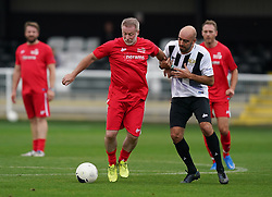 Head for Change's Craig Hignett (centre left) and Team Solan's McCann during the Head for Change and the Solan Connor Fawcett Trust charity match at Spennymoor Town FC, County Durham. Picture date: Sunday September 26, 2021.