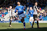 Chesterfield forward Jacob Brown (44) rues a missed chance during the EFL Sky Bet League 2 match between Chesterfield and Notts County at the Proact stadium, Chesterfield, England on 25 March 2018. Picture by Nigel Cole.