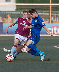 May 28, 2017 - Hong Kong, Hong Kong SAR, China - Jordan Cox (L) of Aston Villa keeps the ball from of Leicester City Connor Wood(R).Leicester City win their second HKFC Citi Soccer Sevens title following a 3-0 victory over defending champions Aston Villa in the final.2017 Hong Kong Soccer Sevens at the Hong Kong Football Club Causeway Bay. (Credit Image: © Jayne Russell via ZUMA Wire)