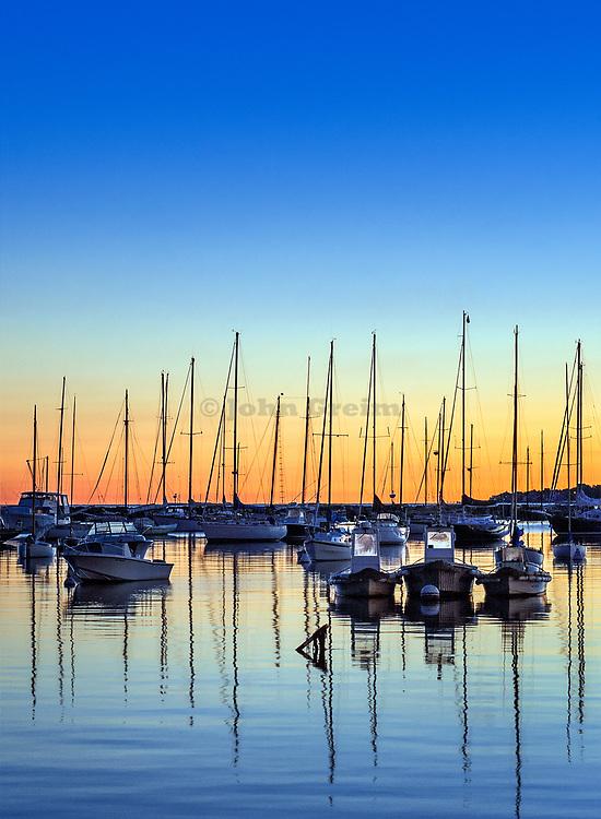 Sunrise sailboats in Vineyard Haven harbor, Martha's Vineyard, Massachusetts, USA