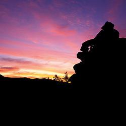 A cairn marks the Appalachian Trail.  Mt. Clinton, White Mtns, NH