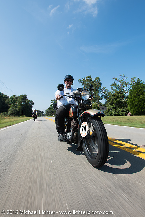 """Robert Gustavsson or """"Big Swede"""" as he is fondly known, riding his 1931 Harley-Davidson VL during Stage 3 of the Motorcycle Cannonball Cross-Country Endurance Run, which on this day ran from Columbus, GA to Chatanooga, TN., USA. Sunday, September 7, 2014.  Photography ©2014 Michael Lichter."""