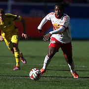 Pegguy Luyindula, New York Red Bulls, in action during the New York Red Bulls Vs Columbus Crew, Major League Soccer regular season match at Red Bull Arena, Harrison, New Jersey. USA. 19th October 2014. Photo Tim Clayton