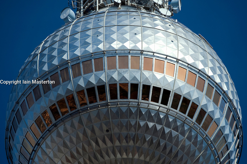 Close up of globe at top of Television Tower at Alexanderplatz in Mitte Berlin