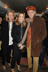 Left to right, PRINCESS CHANTAL OF HANOVER, JEANNE MARINE and SIR BOB GELDOF at a reception to celebrate the publication of The Shadow of The Crescent Moon by Fatima Bhutto at the Belgraves Hotel, 20 Chesham Place, London, on 2nd December 2013.