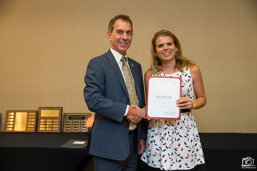 Julia Jakkaraju receives the Ambassador of the Year award during the Milpitas Chamber of Commerce 59th Annual Awards and Installation Banquet at Sheraton San Jose Hotel in Milpitas, California, on July 28, 2016. (Stan Olszewski/SOSKIphoto)