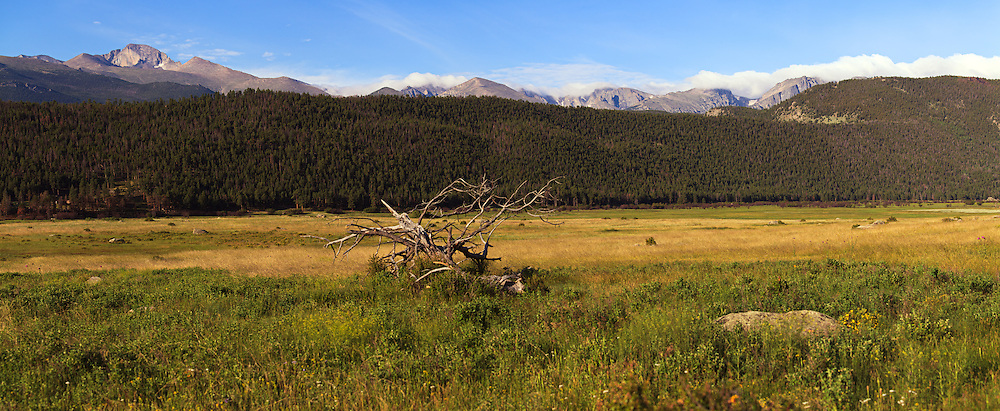 High mountains overlook a tranquil meadow in Rocky Mountain National Park near Estes Park, Colorado. WATERMARKS WILL NOT APPEAR ON PRINTS OR LICENSED IMAGES.