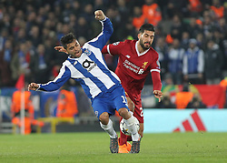 March 6, 2018 - Liverpool, U.S. - Liverpool v FC Porto UEFA Champions League Emre Can of Liverpool and Jesus Manuel Corona of FC Porto in action during the UEFA Champions League match at Anfield, Liverpool. (Photo by Focus Images/Imago/Icon Sportswire) ****NO AGENTS---NORTH AND SOUTH AMERICA SALES ONLY****NO AGENTS---NORTH AND SOUTH AMERICA SALES ONLY* (Credit Image: © Focus Images/Icon SMI via ZUMA Press)