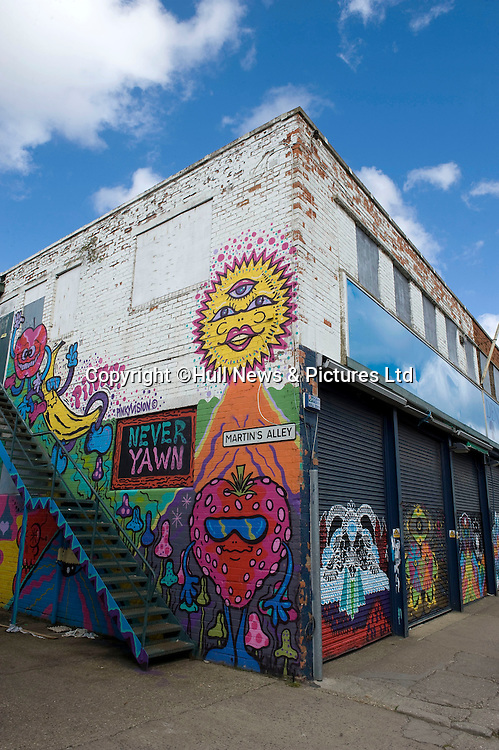 27 August 2014 Images of Kingston Upon Hull, East Yorkshire.<br /> Martin's Alley in the Fruit Market area.<br /> Picture: Sean Spencer/Hull News & Pictures Ltd<br /> 01482 772651/07976 433960<br /> www.hullnews.co.uk   sean@hullnews.co.uk