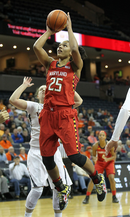 Maryland forward Alyssa Thomas (25) shoots in front of Virginia guard Kelsey Wolfe (10) during the game Thursday in Charlottesville, VA. Photo/The Daily Progress/Andrew Shurtleff
