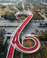 Aerial view of S-shaped Pedestrian bridge, Chengdu, China