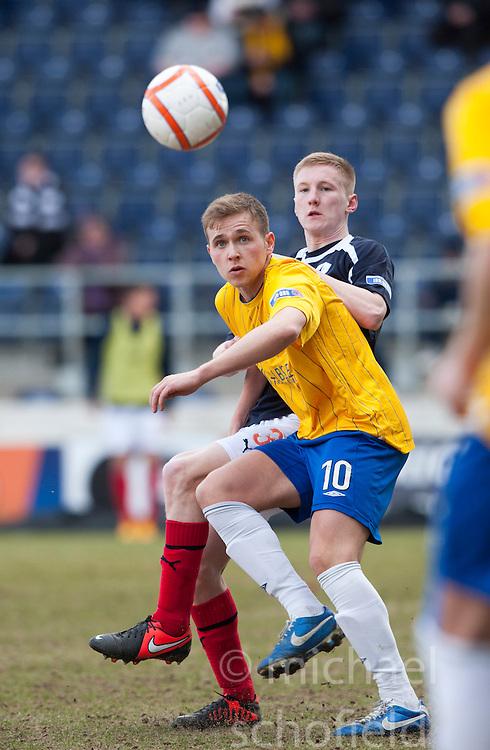 Cowdenbeath's Greg Stewart and Falkirk's Liam Dick..half time : Falkirk 0 v 0 Cowdenbeath, 6/4/2013..©Michael Schofield..