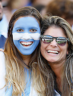 Two Argentina fans during the 2014 FIFA World Cup Final match at Maracana Stadium, Rio de Janeiro<br /> Picture by Andrew Tobin/Focus Images Ltd +44 7710 761829<br /> 13/07/2014