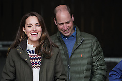 The Duke and Duchess of Cambridge during their visit to Manor Farm in Little Stainton, Durham. Picture date: Tuesday April 27, 2021.