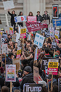 Passion and  speeches in Whitehall  - A march against racism and to ban the ban (against immigration from certain countries to the USA) is organised by Stand Up To Racism and supported by Stop the War and several unions. It stated with a rally at the US Embassy in grosvenor Square and ended up in Whitehall outside Downing Street. Thousands of people of all races and ages attended. London 04 Feb 2017.