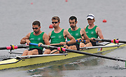 Shunyi, CHINA.  Heat of the Lightweight men's four, IRL LM4-, Bow,Cathal MOYNIHAN, Geariod TOWEY, Richard ARCHIBALD and Paul GRIFFIN, move away from the start, at the 2008 Olympic Regatta, Shunyi Rowing Course. Sunday 10.08.2008  [Mandatory Credit: Peter SPURRIER, Intersport Images]